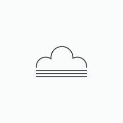 Unfinished cloud vector icon
