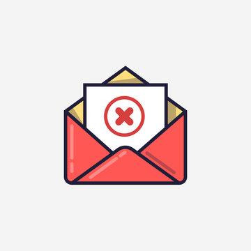 Opened envelope and document with red x mark line icon. Message was not sent, error, e-mail delivery failed, remove email, delete mail letter. Line design. Vector illustration