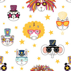 Hand drawn seamless vector pattern with cute animal faces in funky hats, glasses, on a white background with stars. Design concept for children, textile print, wallpaper, wrapping paper.