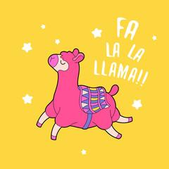 Cartoon lama character vector illustration. Funny animal print card.