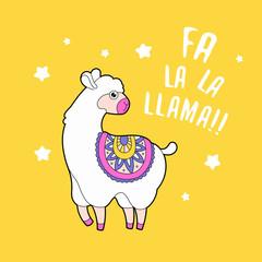 Cute fluffy llama alpaca. Funny animal print card. Funny quote print.