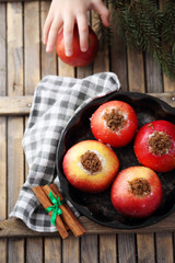 Apples with cinnamon, top view