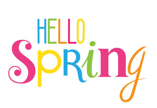 HELLO SPRING colourful custom letters icon