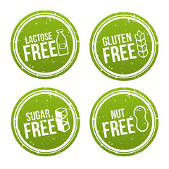 Wall Mural - Set of Allergen free Badges. Lactose free, Gluten free, Sugar free, Nut free. Vector hand drawn Signs. Can be used for packaging Design.