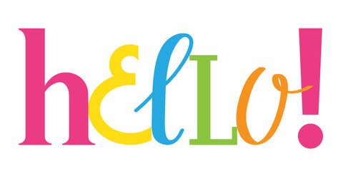 HELLO! hand-drawn colourful vector letters