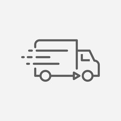 Delivery truck icon line symbol. Isolated vector illustration of van sign concept for your web site mobile app logo UI design.