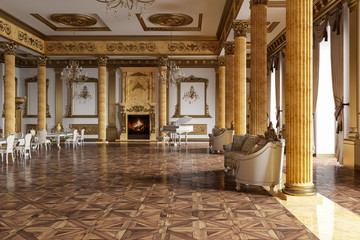 The ballroom and restaurant in classic style. 3D render.