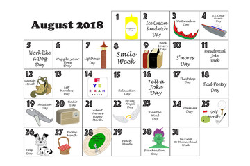 August 2018 Quirky Holidays and Unusual Events