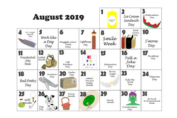 August 2019 Quirky Holidays and Unusual Events
