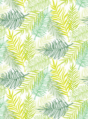 Hand drawn doodle palm leaves pattern