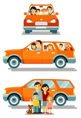 Happy family traveling by car in different views front and side. People set father, mother and children sitting in automobile and standing together.