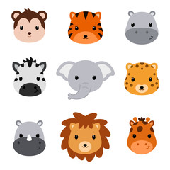 Baby shower cute safari animals. Set of 9 animal heads.