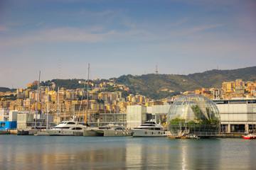 View over italian port of Genoa in Liguria, Italy