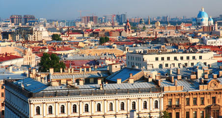 Russia. St. Petersburg. A picturesque top view of the historical center of the city on a summer day.