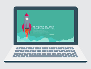rocket  clouds business startup creative idea.Laptop vector illustration background EPS10.