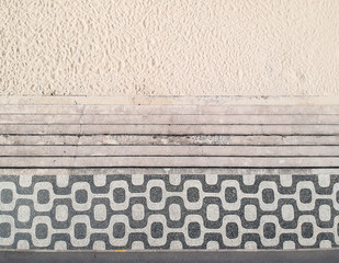 Famous mosaic sidewalk in Leblon Beach, Rio de Janeiro