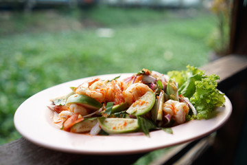 Spicy Green Eggplant Salad with Prawns with green background