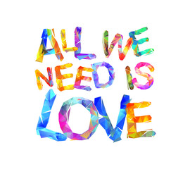 All we need is love. Triangular letters