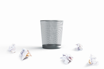 3D rendering of a waste basket with crumpled papers outside