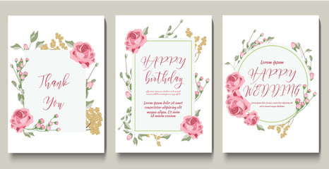 Set of templates for wedding. Floral wedding invitations.