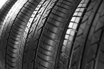 Car tires, closeup