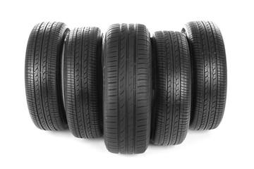 Car tires on white background