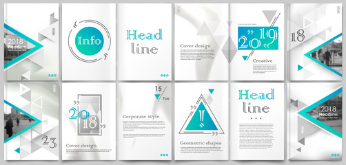 White book binder mockup. A4 brochure cover design. Title sheet model set. Modern vector front page art. Urban city house font. Blue triangle facets frame, lines connection, logo icon. Ad flyer text
