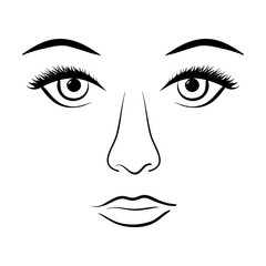 Black line painted woman face on white background