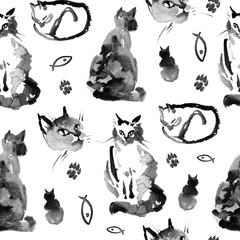 Wet to wet watercolor seamless pattern of the fluffy siberian cat on white background. Collection of cute cat in different pose