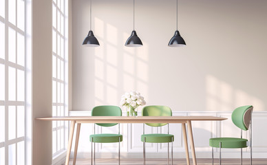 Vintage style dining room with green chair 3d render.The Rooms have wooden floors and light brown walls.Furnished with green chair and wood table. There are white window overlooking to outside.