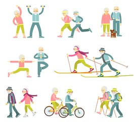 Set of senior man and woman characters in flat style isolated on white background. Old people in different poses, gestures and actions. Healthy lifestyle for elderly.