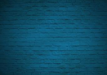 Empty blue brick wall backgroud faded on black