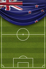 New Zealand country flag draped over a football soccer pitch. 3D Rendering