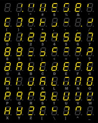 Yellow LED Digital number and alphabet symbol set of seven segment type on black background for graphic idea design concept