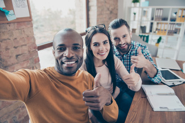 Agree advertising black afro desktop ethnicity leadership satisfaction company face concept. Close up portrait of excited cheerful friendly toothy beaming smile colleagues taking making selfie