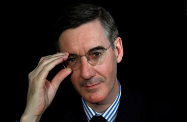 British Conservative Party politician Jacob Rees-Mogg poses for a photograph during an interview with Reuters at his offices in the Houses of Parliament in London