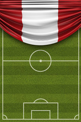 Peru country flag draped over a football soccer pitch. 3D Rendering