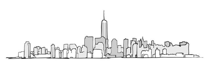 New York City Skyline Drawing