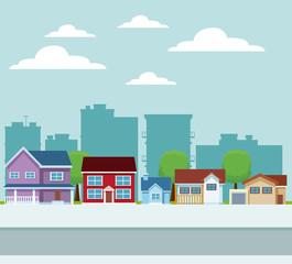 City buildings cartoon vector illustration graphic design