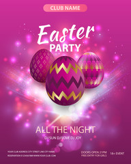 Vector illustration Easter party Illustration with painted eggs on bright background.