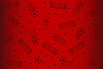 Football background for soccer tournament. Red backdrop with football elements for banner, poster. Vector illustration.