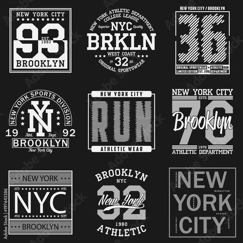 799cdd47 New York, Brooklyn typography. Set of athletic print for t-shirt design.  Graphics for sport apparel. Collection of tee shirt badge. Vector.