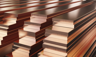Warehouse of copper plates. Rolled metal products. 3d illustration.