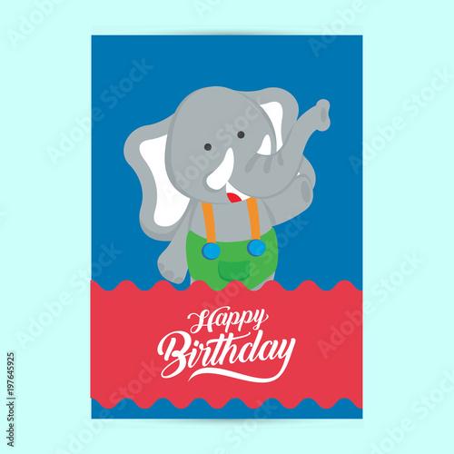 Happy Birthday Flyer Template With Elephant Stockfotos Und