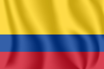 Flag of Colombia. Realistic waving flag of Republic of Colombia. Fabric textured flowing flag of Colombia.