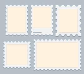 Blank Postage Stamps Set Vector