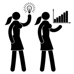 Icon of a girl with an idea -  lighted lamp. Pictogram of  business woman showing a growth chart.