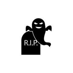 ghost in the cemetery icon. Element of scarecrow icon. Premium quality graphic design icon. Signs and symbols collection icon for websites, web design, mobile app