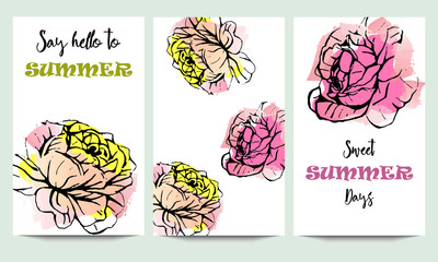 Hand drawn vector summer time cards set with pink roses, and funny quotes isolated on watercolor background. Hipster wedding, birthday, decoration, save the date, logo