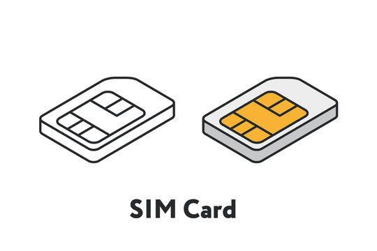 Isometric Plastic SIM Card Minimal Flat Line Outline Stroke Icon